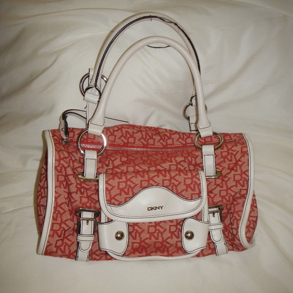 Dkny Handbags - DKNY Signature Red-Fabric Satchel/White Handles